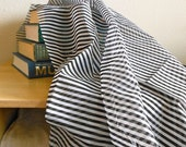 Vintage Black and White Striped Cotton Fabric, 3 Yards