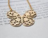 Butterfly Necklace - Brass Filagree Butterfly Necklace - Art Nouveau Necklace