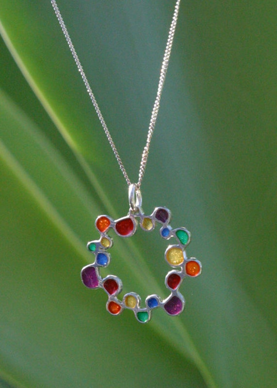 Sterling Silver and resin Plique a Jour Style pendant