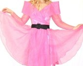 vintage 80s does 50s STRUCTURAL bubblegum pink chiffon circle Prom Party DRESS