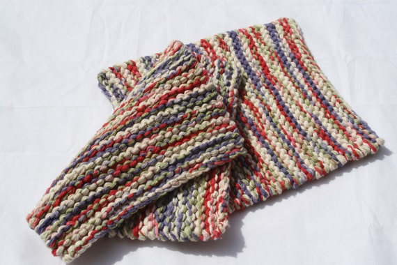 Hand Knit Cotton Pot Holders - Set of 2