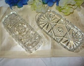 Vintage Cut Glass Butter Dish American Press Cut Design Anchor Hocking