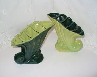 Green Beauceware Cornucopia Vases Chartreuse Mid Century Six Sections
