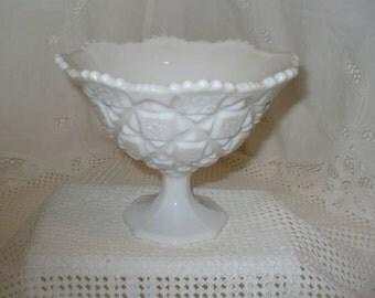Vintage Milk Glass Compote