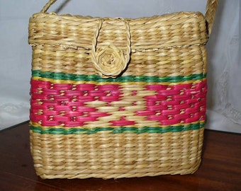 Woven Straw Box Purse Pink Accents