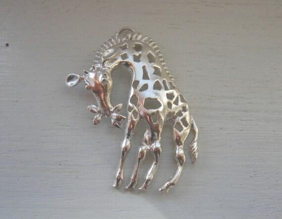 925 Sterling Silver Fancy Giraffe Pendant