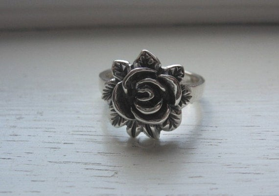 Beautiful 925 Sterling Silver 3 D Rose Flower Sz 7 3/4 Ring