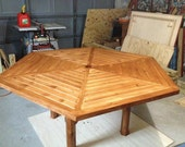 Solid Wood Hexagon Stained Outdoor Table