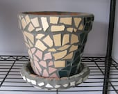 9 inch mosaic pot with saucer