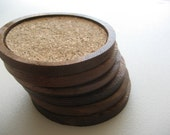 RESERVED LISTING - Vintage hardwood & cork drink coasters - set of 6