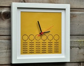 Hand Printed Clock - Skinny Flowers on Sunshine Yellow