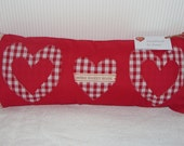"Bolster type cushion - ""Home Sweet Home"" - red with 3 appliqued red cotton and red gingham hearts"