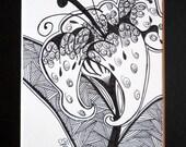 "Original Ink Drawing Lily Floral Garden Lace Background Henna Style 5""x7"" Black Matt"