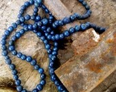 Jade : Sapphire Blue Monochrome Simple Classic Elegant Long Wrap Beaded Wrap Necklace Sustainable Acai Seeds