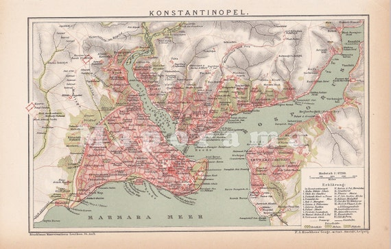Antique Map of Constantinople, present Istanbul Turkey in the 19th Century, printed in 1903