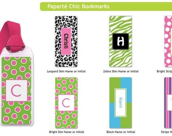 Personalized Bookmarks - zebra book marks, leopard bookmarks, polka dots or stripes bookmarks