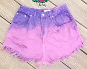 Purple Fade High Waist Denim Shorts