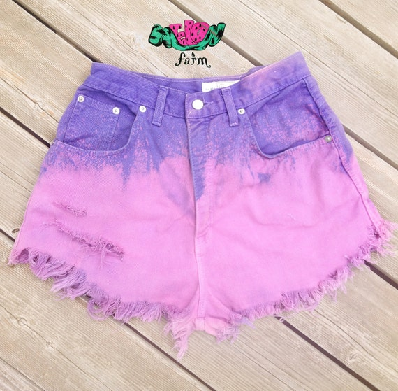 Purple Fade High Waist Denim Shorts