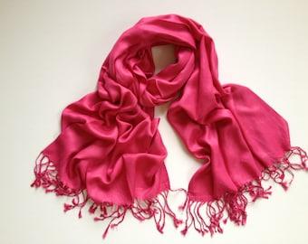 SALE hot pink pashmina scarf, hot pink pashmina shawl, hot pink fashion scarf, pashmina scarf, pashmina shawl, scarf, shawl, keepsake, gift