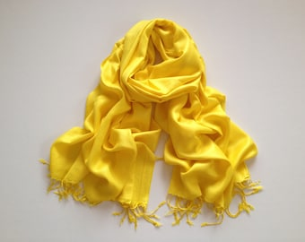 bright yellow pashmina scarf, bright yellow pashmina shawl, bright yellow fashion scarf, pashmina scarf, pashmina shawl, scarf, shawl