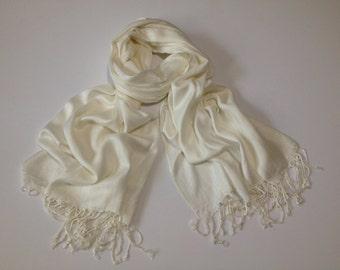 ivory pashmina scarf, ivory pashmina shawl, ivory fashion scarf, pashmina scarf, pashmina shawl, scarf, shawl