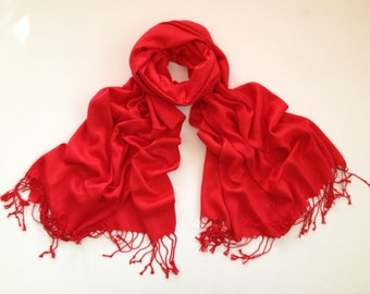 bright-red pashmina scarf, bright-red pashmina shawl, red fashion scarf, pashmina scarf, pashmina shawl, scarf, shawl