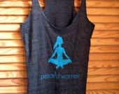 MEDIUM Peaceful Warrior Yoga Tank - Charcoal Racerback