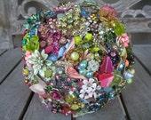 Vintage Hot Pink Rhinestone, Enamel, and Vintage Jewelry Brooch Wedding Bouquet