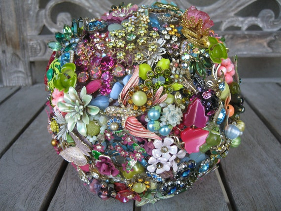 Vintage Hot Pink Rhinestone, Enamel, and Vintage Jewelry Brooch Wedding Bouquet