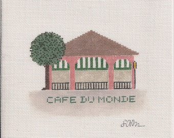 Cafe du Monde Coffee and Beignet's Needlepoint Ornament Canvas