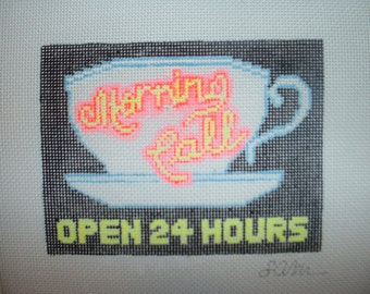 Morning Call Coffee Stand - Needlepoint Ornament Canvas