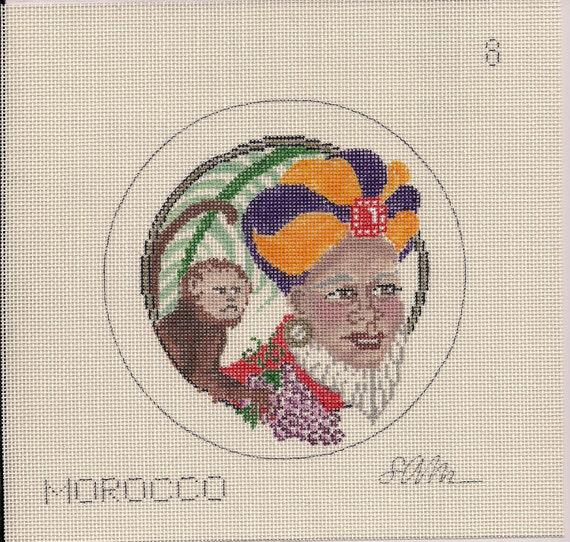 Santa - Morocco - Needlepoint Ornament or Kiss Ball Canvas