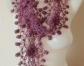 hand crochet scarf purple mothers day valentines day gift for her christmas in july sale
