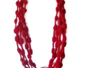 ON SALE hand crochet infinity scarf mothers day valentines day gift for her red