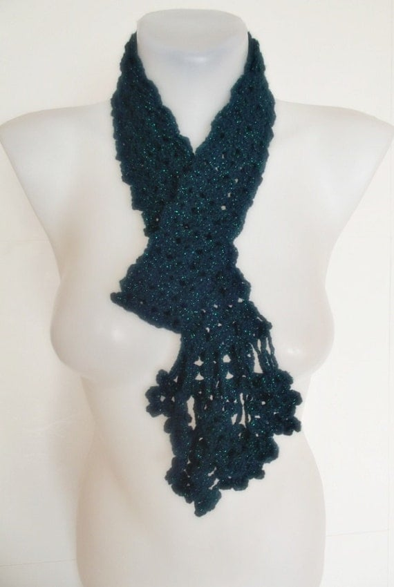 hand crochet scarf green emerald