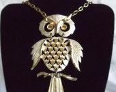 Vintage Large White Enamel over Gold Tone Articulated Owl Necklace 70s Era yellow topaz eyes