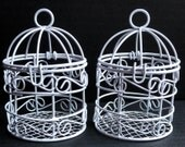 White Cage (2) - Miniature Wire Bird Cage