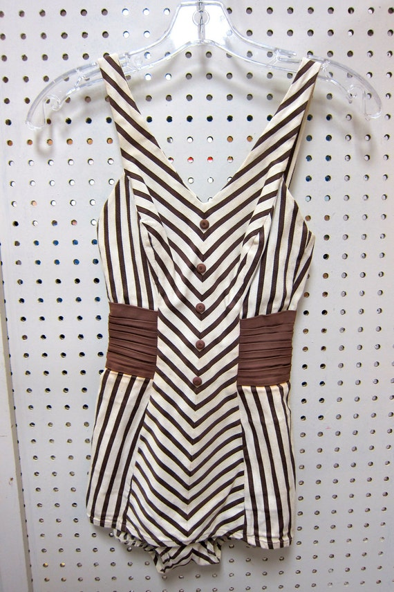 1950's Rose Marie Reid brown and cream stripped one piece swimsuit