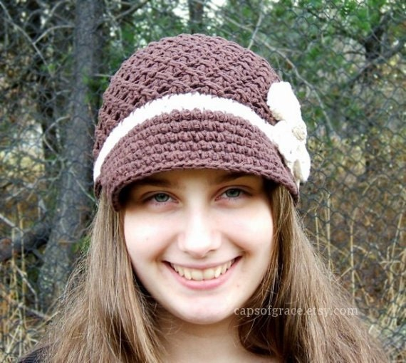 Crochet Hat Pattern Womens Daisy Visor Beanie Crochet PDF 150 Newborn to Adult  Photography Prop Permission to Sell Hat