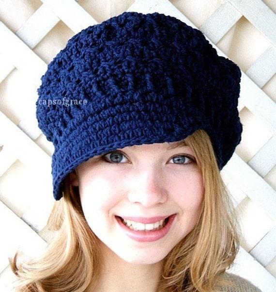 Crochet Hat Pattern Teenager : Crochet Hat Pattern Teens Newsgirl Newsboy by ...