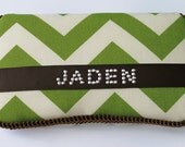 Green Chevron Zig Zag with Brown Acccents Baby Wipes Case for BOY Wipe Holder with Name in Rhinestuds