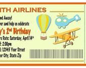 Orange & Green Airplane, Hot Air Balloon, Helicopter Boarding Pass Birthday Invitation - Digital File - You Print - Photo Invite