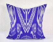 Blue ikat pillow - Decorative blue pillow covers - accent pillow MPI104