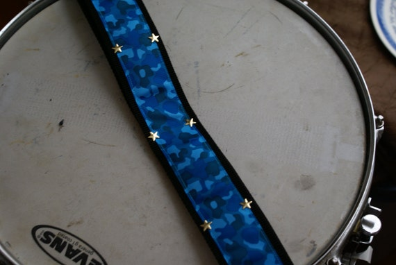 Blue Camouflage Guitar Strap with Silver Star Studs