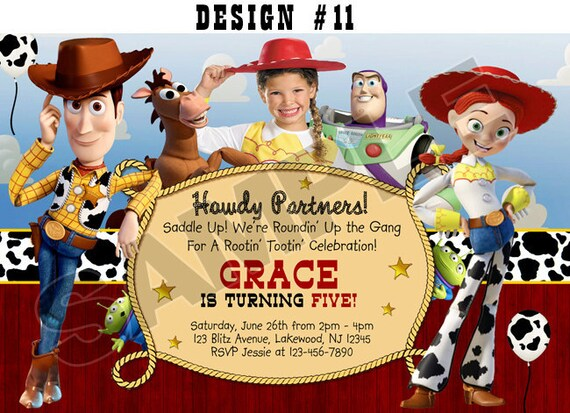 Toy Story 1 2 3 Birthday Party Photo Invitations Rodeo Cowboy