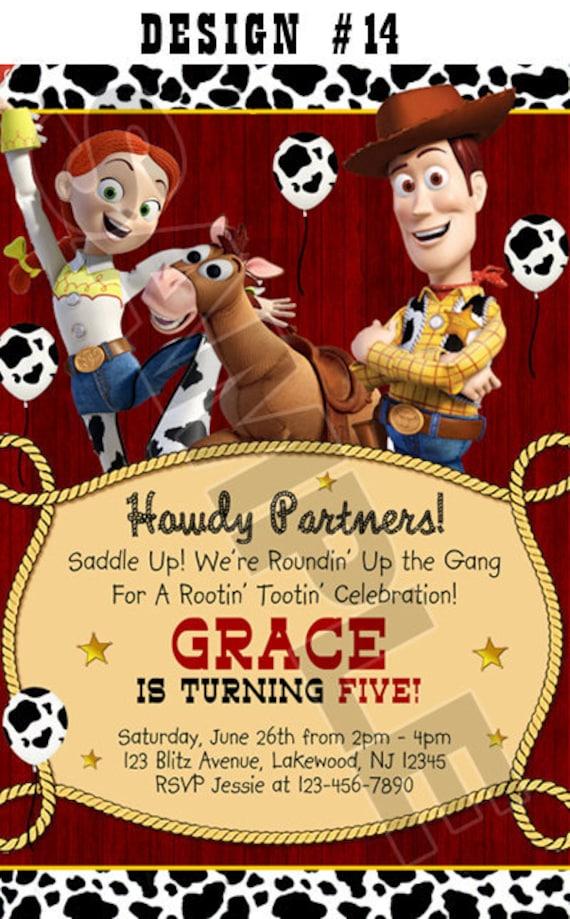 Toy Story 1 2 U0026 3 Birthday Party Photo Invitations Rodeo