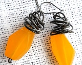 Handmade, Summer Fun, butter yellow resin and steel earrings by Bolder and Beautiful for Etsy