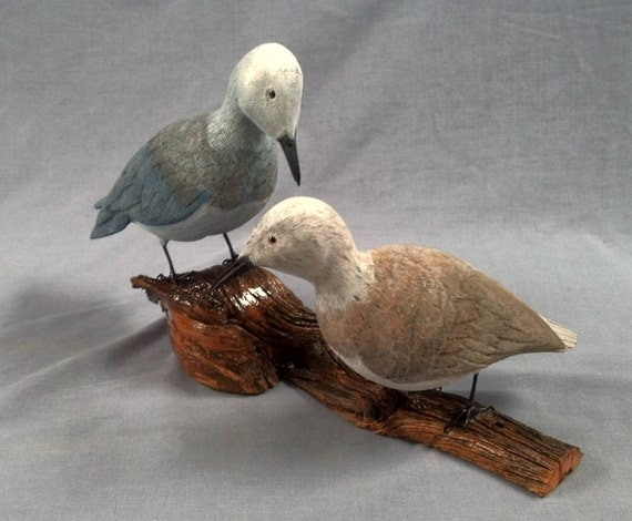 Handcarved Mourning Dove's Mounted on Driftwood Base