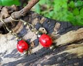 Ladybird Ladybug lampwork glass Earrings