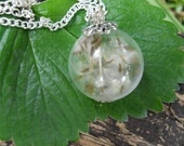 Dandelion Fairy Handblown Hollow Glass Pendant Necklace